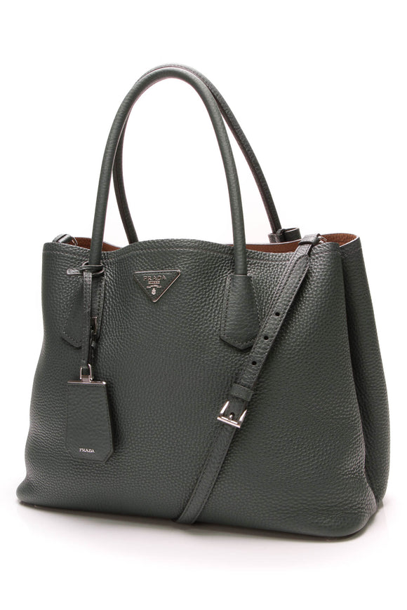 Prada Cuir Double Tote Bag Saffiano Leather Green