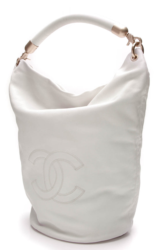 Chanel Lambskin Leather CC Hobo Bag White
