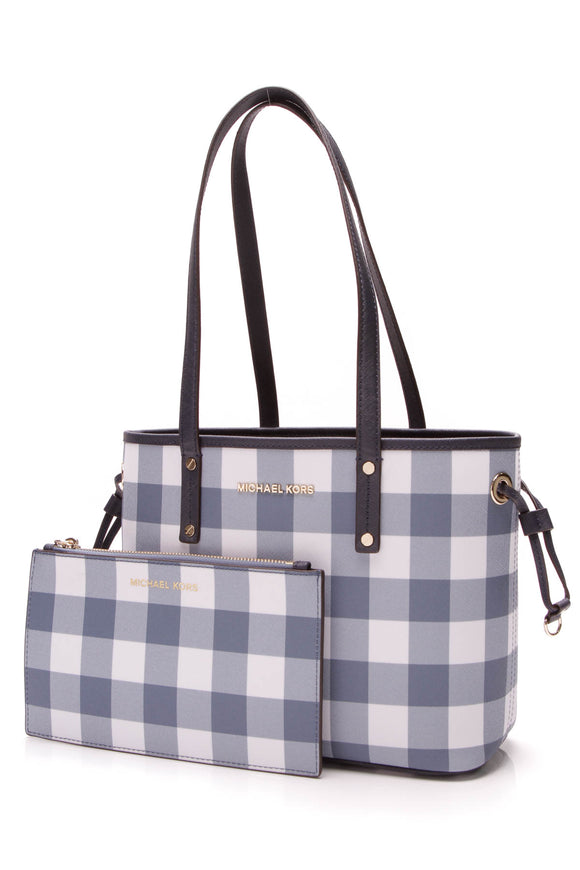 Michael Kors Jet Set small tote bag blue plaid