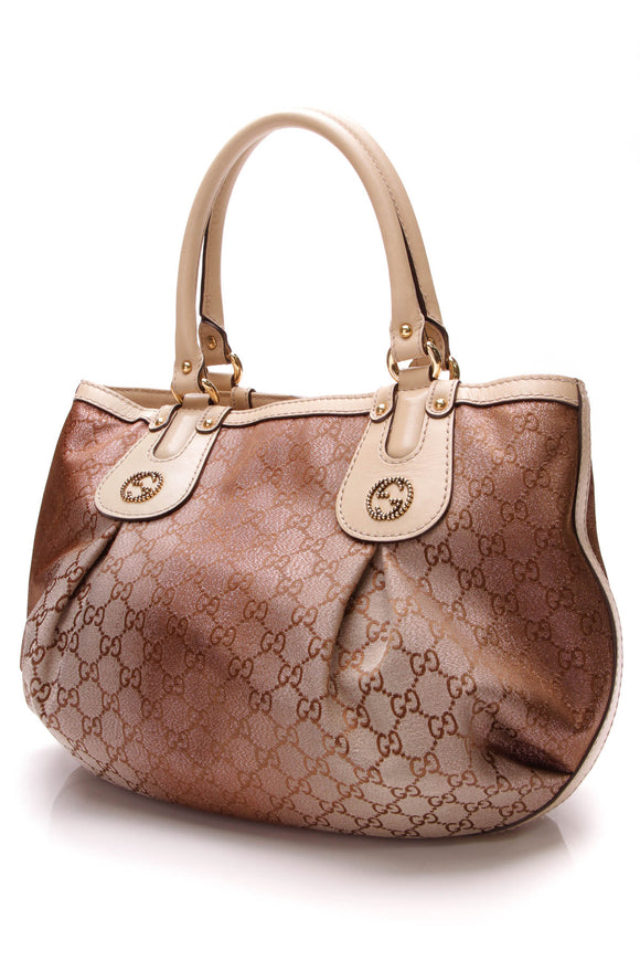 Gucci Medium Scarlett Tote Bag GG Canvas Metallic Pink