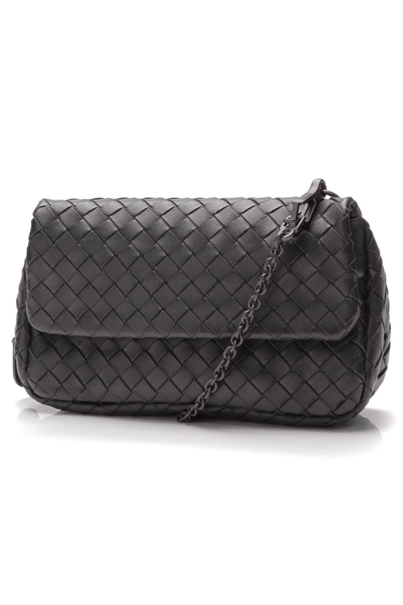 Bottega Vaneta Intrecciato Small Chain Crossbody Black