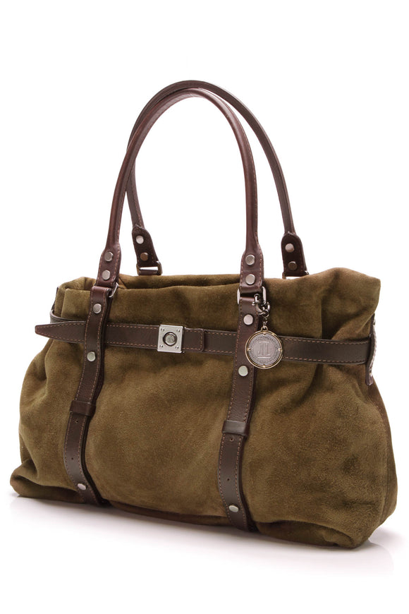 Lanvin Kansas Bag Olive Green Suede Brown Leather