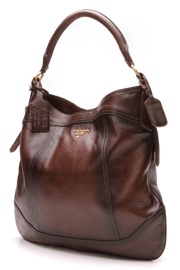 Prada Antik Cervo Hobo Bag Cognac Deerskin Leather