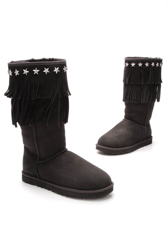 UGG for Jimmy Choo black sheepskin Sora fringed boots