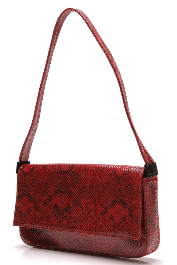 Stuart Weitzman Shoulder Bag Red Embossed Leather