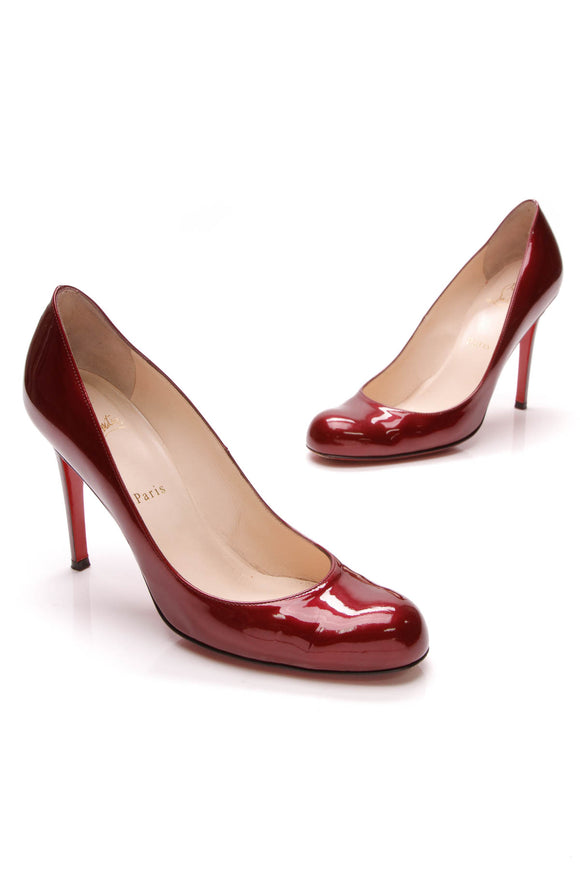 Christian Louboutin Fifille Pumps Raspberry Patent Leather Size 40