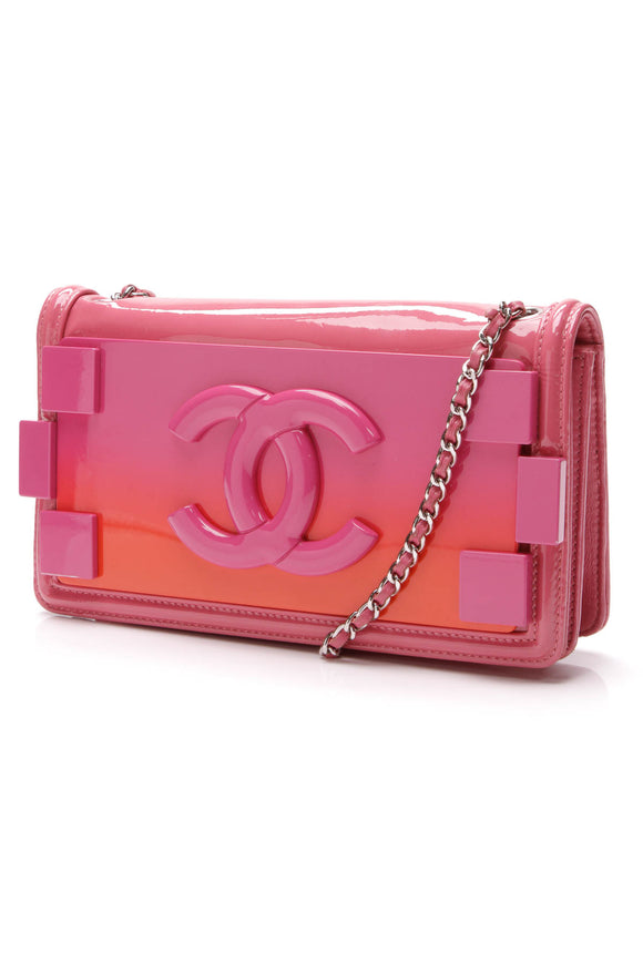 Chanel Boy Brick Crossbody Bag Plexiglass Leather Pink Orange
