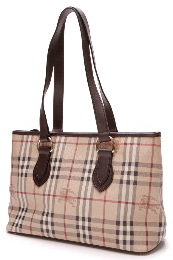 Burberry Nickie Tote Bag Haymarket Check