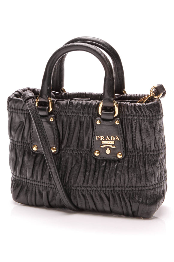 Prada Gaufre Mini Crossbody Bag Ruched Nappa Leather Black