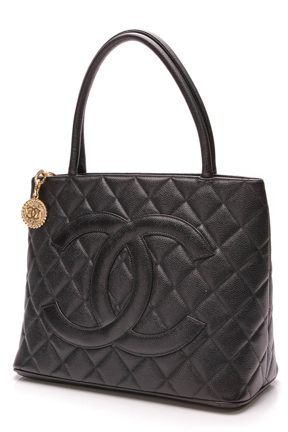 Chanel Vintage Medallion Tote Bag Black Caviar