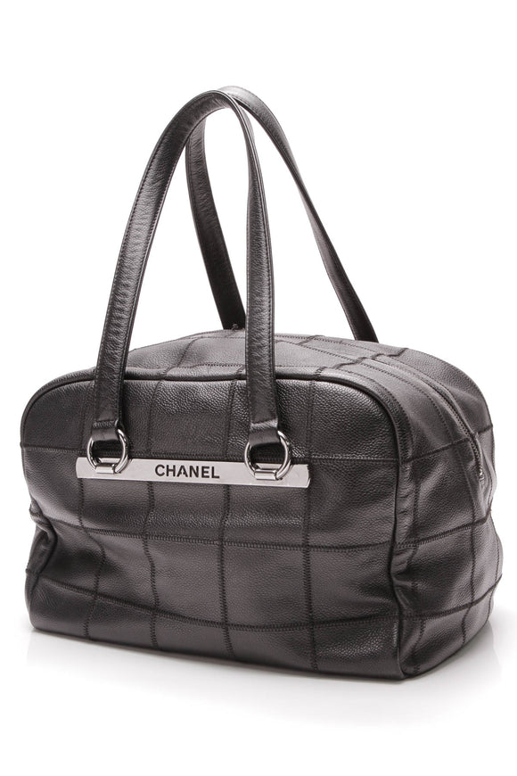 Chanel Medium Square Stitch Satchel Bag Black Caviar