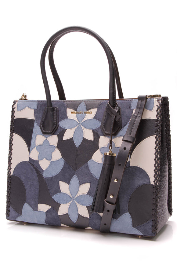 Michael Kors Mercer Patchwork Tote Bag Floral Navy Blue