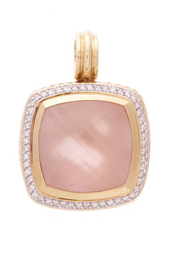 David Yurman 20mm 18K Gold Rose Quartz Albion Pendant