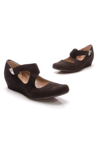 Anyi Lu Mary Jane Wedges Black Suede