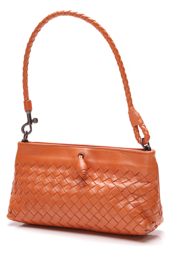Bottega Vaneta Intrecciato Frame Pochette Bag Orange