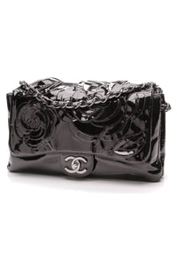 Chanel Camellia Flap Accordian Bag Patent Leather Black