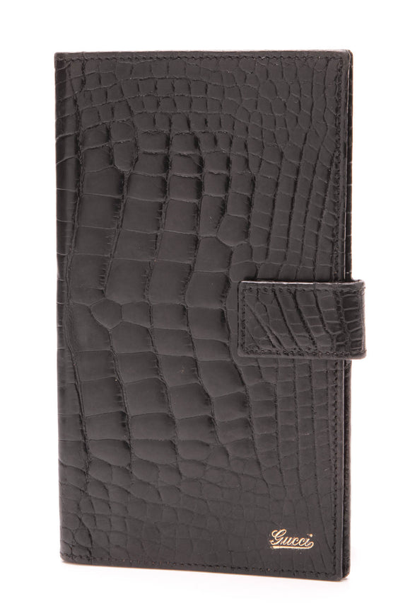 Gucci Alligator Checkbook Cover Black