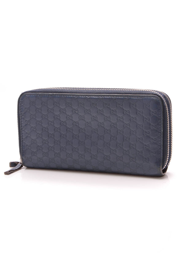Gucci Microguccissima Double Zip Around Wallet Blue