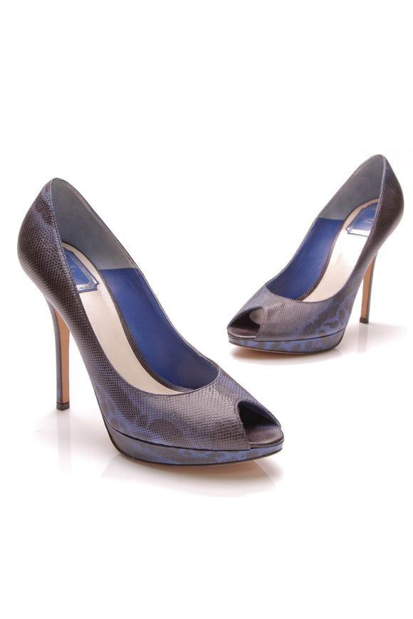 Christian Dior Peep Toe Pumps Embossed Leather Size 39 Blue