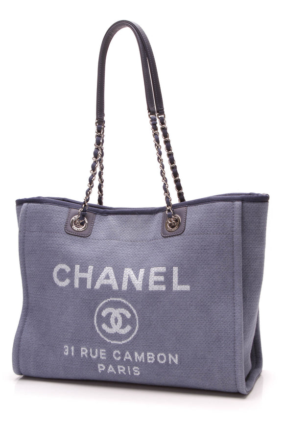 Chanel Deauville Medium Tote Bag Blue Canvas