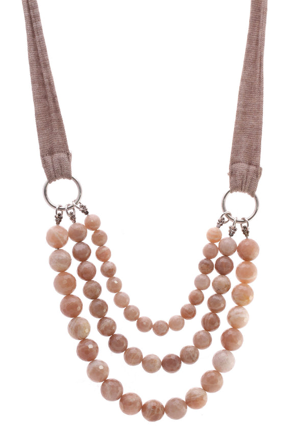 Brunello Cucinelli Three Strand Beaded Necklace Pink