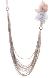 Brunello Cucinelli Rosette Multi Strand Necklace Silver