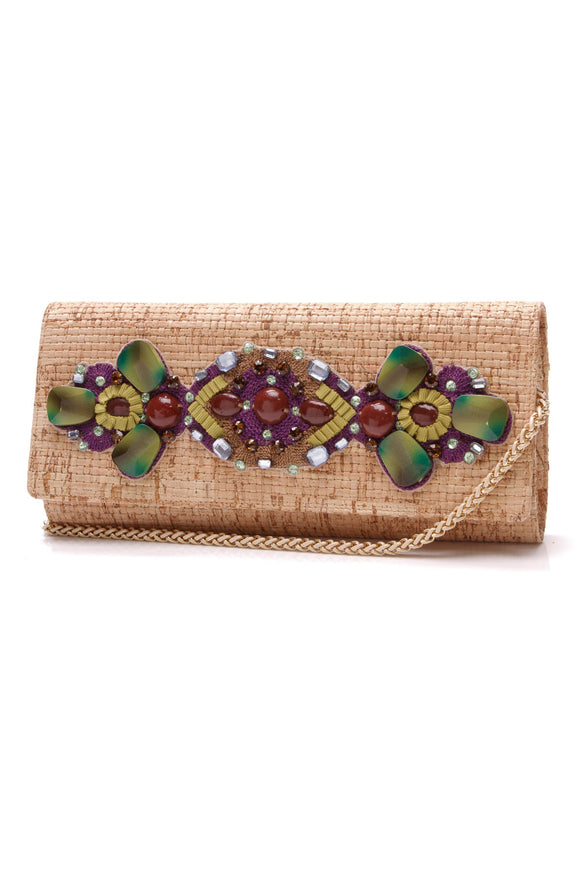 Oscar de la Renta embellished clutch bag cork