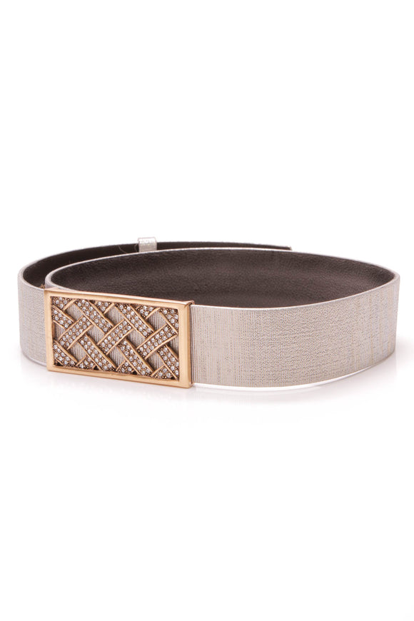 Oscar de la Renta Crystal Buckle Belt Metallic Silver Leather