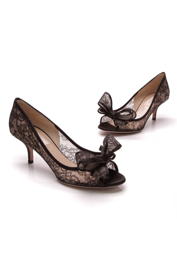 Valentino Lace Bow Pumps Satin Lace Size 38 Black