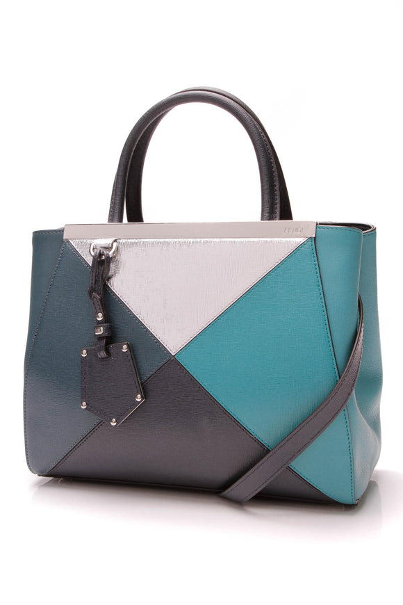 Fendi Petite 2Jours Tote Leather Blue Silver