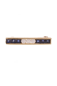 Tiffany & Co. Bar Pin Diamond Sapphire 18K gold