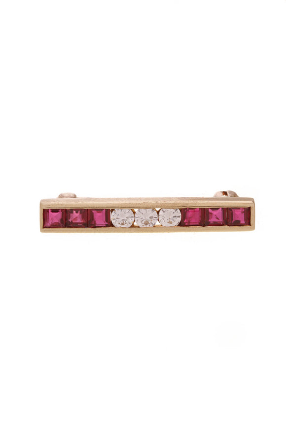 Tiffany & Co. Bar Pin Diamond Ruby 18K Gold