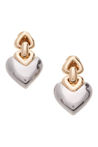 Bvlgari Heart Clip Earrings Stainless Steel Gold