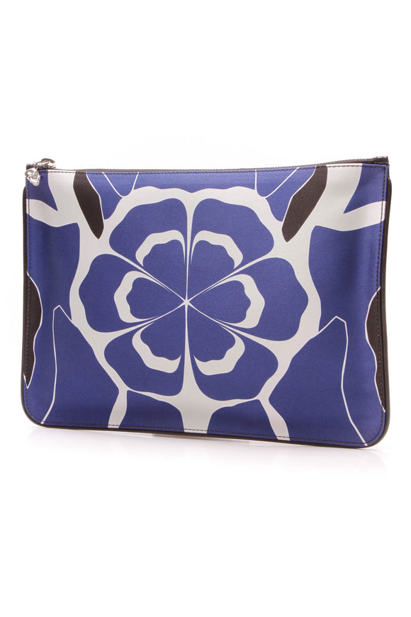 Alexander McQueen floral zip clutch bag silk blue black