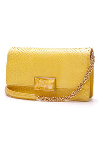 Jane Bolinger yellow python evening clutch bag yellow python