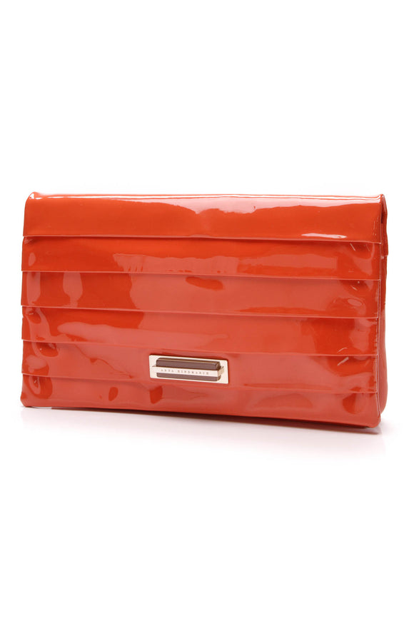 Anya Hindmarch Byron clutch Orange Patent Leather