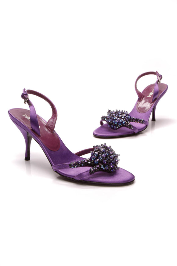 Prada Jeweled Heeled Sandals Purple Satin Size 38.5