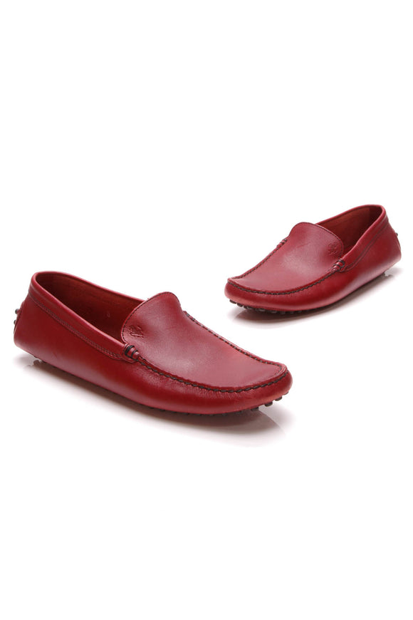 TOD's Special Edition Ferrari Driver Loafers Burgundy Size 8 Red