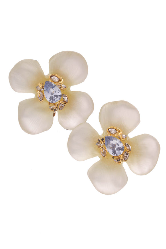 Alexis Bittar Flower Clip-On Earrings Lucite