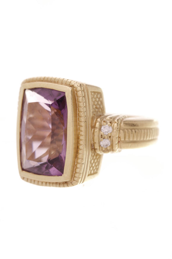 Judith Ripka Amethyst Statement Ring Gold