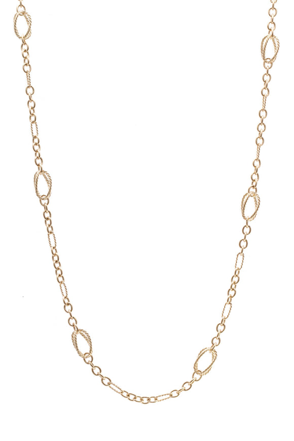 David Yurman Cable Figaro Link Toggle Necklace Gold
