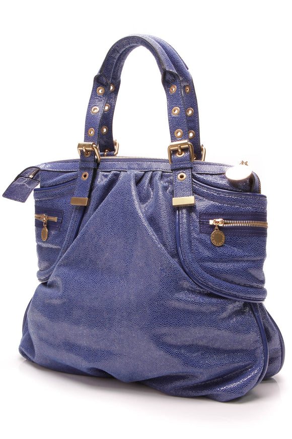 Stella McCartney Appaloosa Bag Blue Metallic Faux Leather