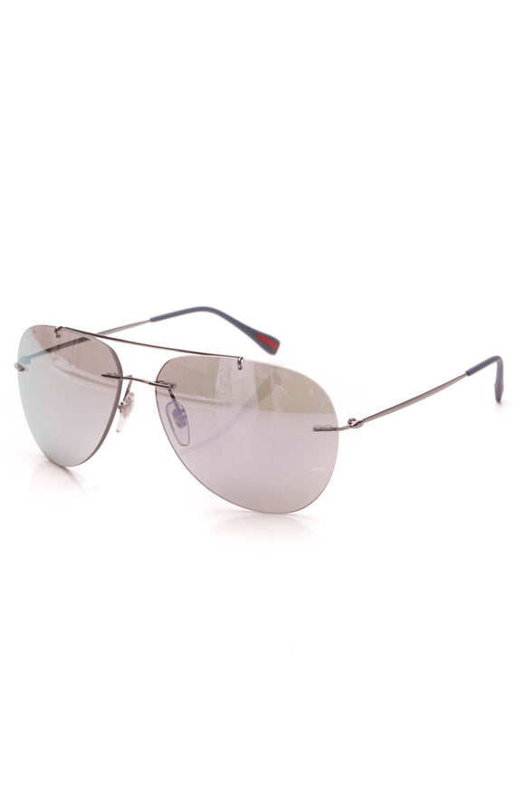 Prada Mirrored Aviator Sunglasses Silver