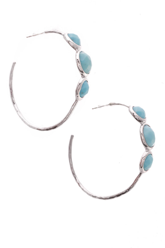 Ippolita Turquoise Rock Candy Hoop Earrings Silver