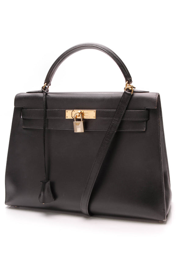 Hermes Kelly 32 Sellier Bag Black Box Leather