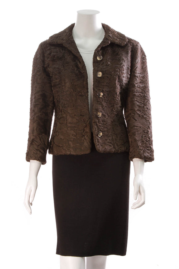 Celine Button Up Jacket - Brown Astrakan Fur