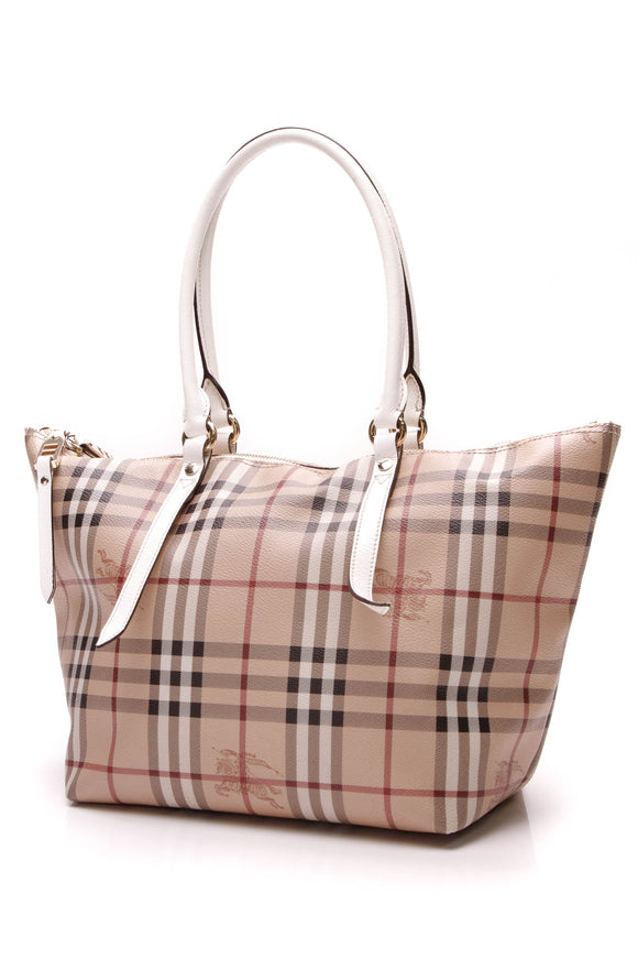 Burberry Small Salisbury Tote Bag Haymarket Check White