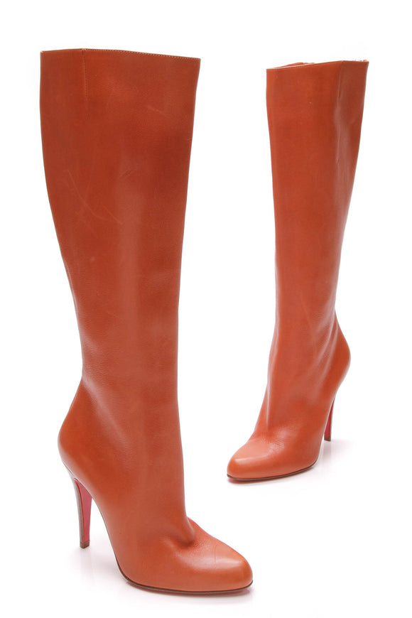 Christian Louboutin knee high boots orange leather