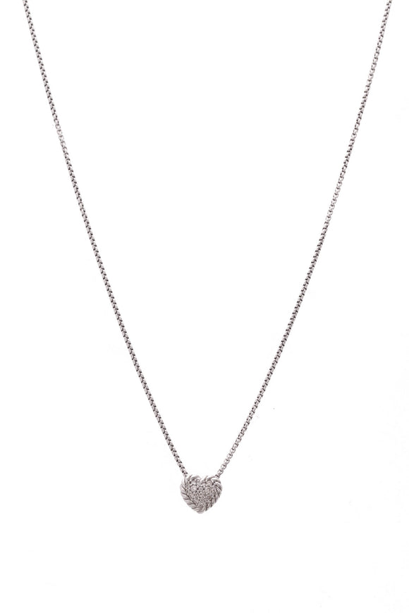 David Yurman Petite Pave Heart Pendant Necklace Diamonds Silver