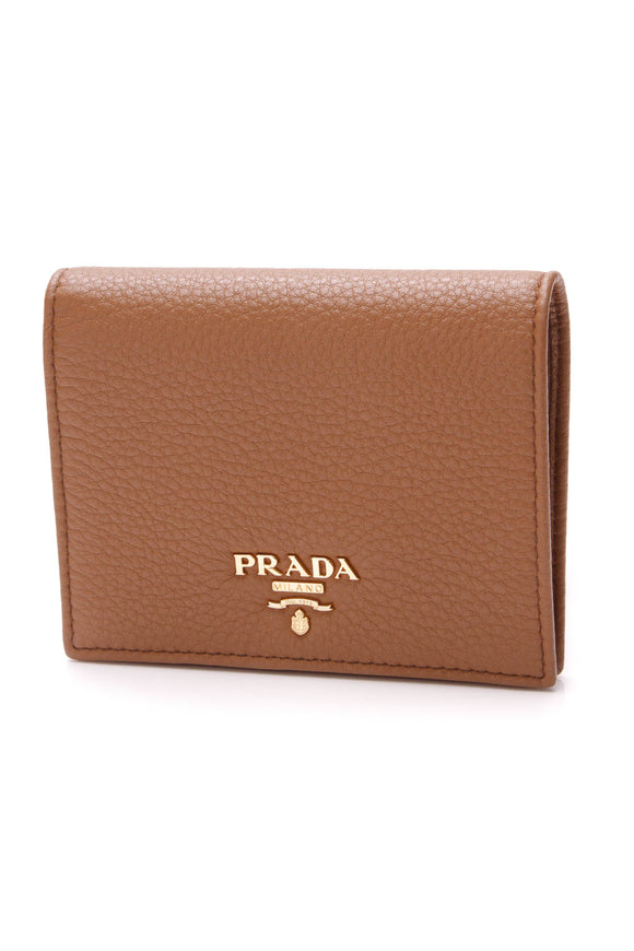 Prada Card Case Wallet Cognac Leather